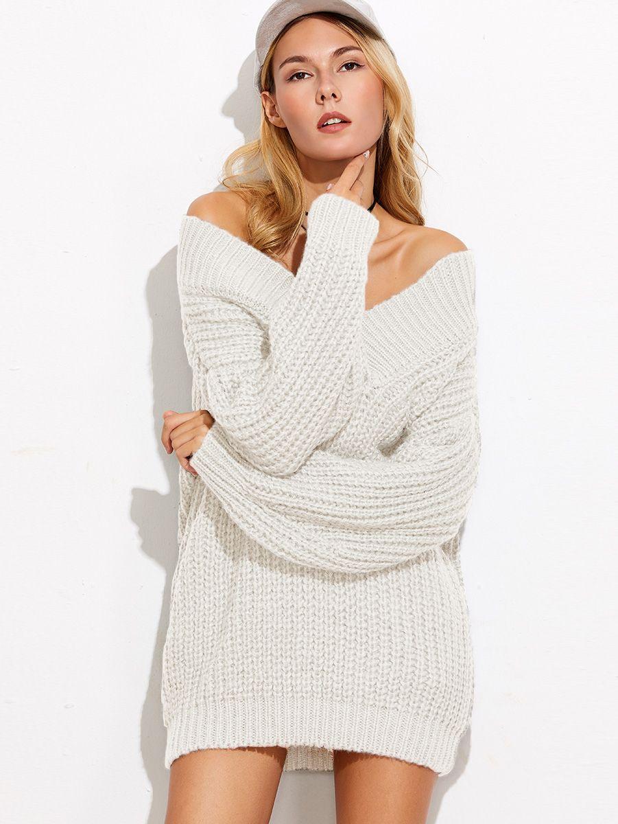 65e08defce5 Shop White V Neck Drop Shoulder Chunky Knit Sweater online. SheIn ...