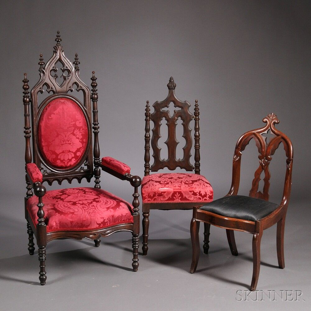 Gothic Revival Walnut Carved Upholstered Armchair and two Other Chairs