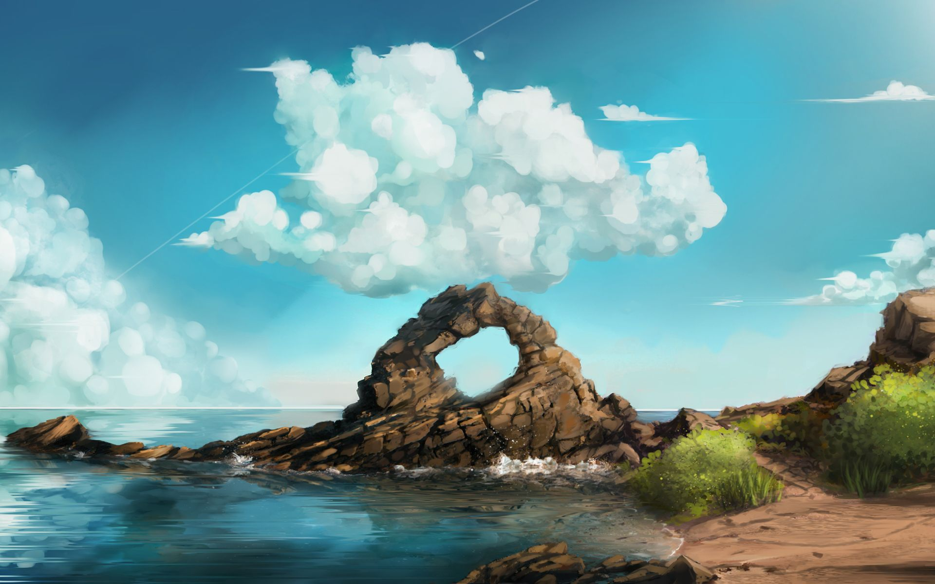 Clouds Sky Art Rocks Sea Clouds Sky Art Rocks Sea Is An Hd Desktop Wallpaper Posted