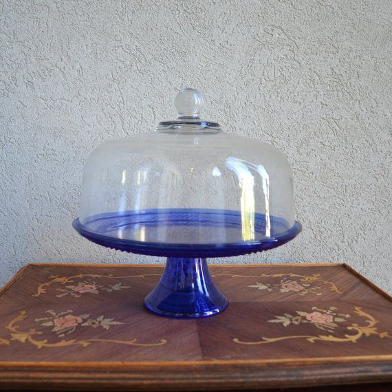 dome cake stands | Vintage Cobalt Blue Cake Stand with Dome by Anchor Hocking Wexford & Vintage Cobalt Blue Cake Stand with Dome by Anchor Hocking Wexford ...