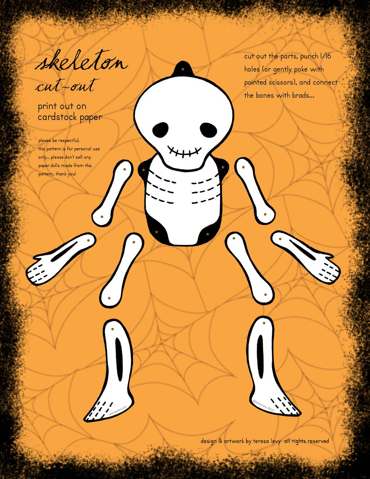 A Printable Skeleton Paper Doll You Will Need 8 Connecter Thingies For His Joints