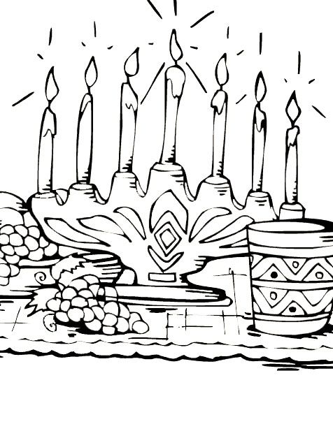 Kwanzaa Candle Burning With Coloring For Kids | Coloring Sheets ATW ...