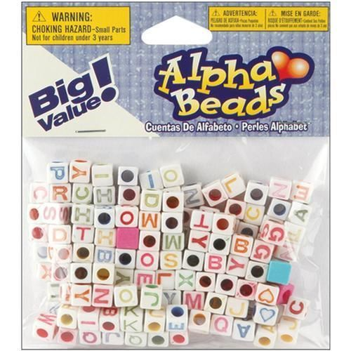 Darice AlphaBeads White With Assorted Letter Colors