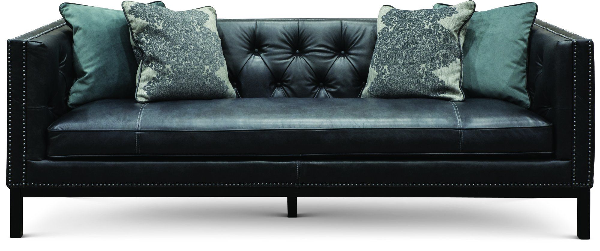 Outstanding Mid Century Modern Black Leather Sofa St James Casa Del Ocoug Best Dining Table And Chair Ideas Images Ocougorg