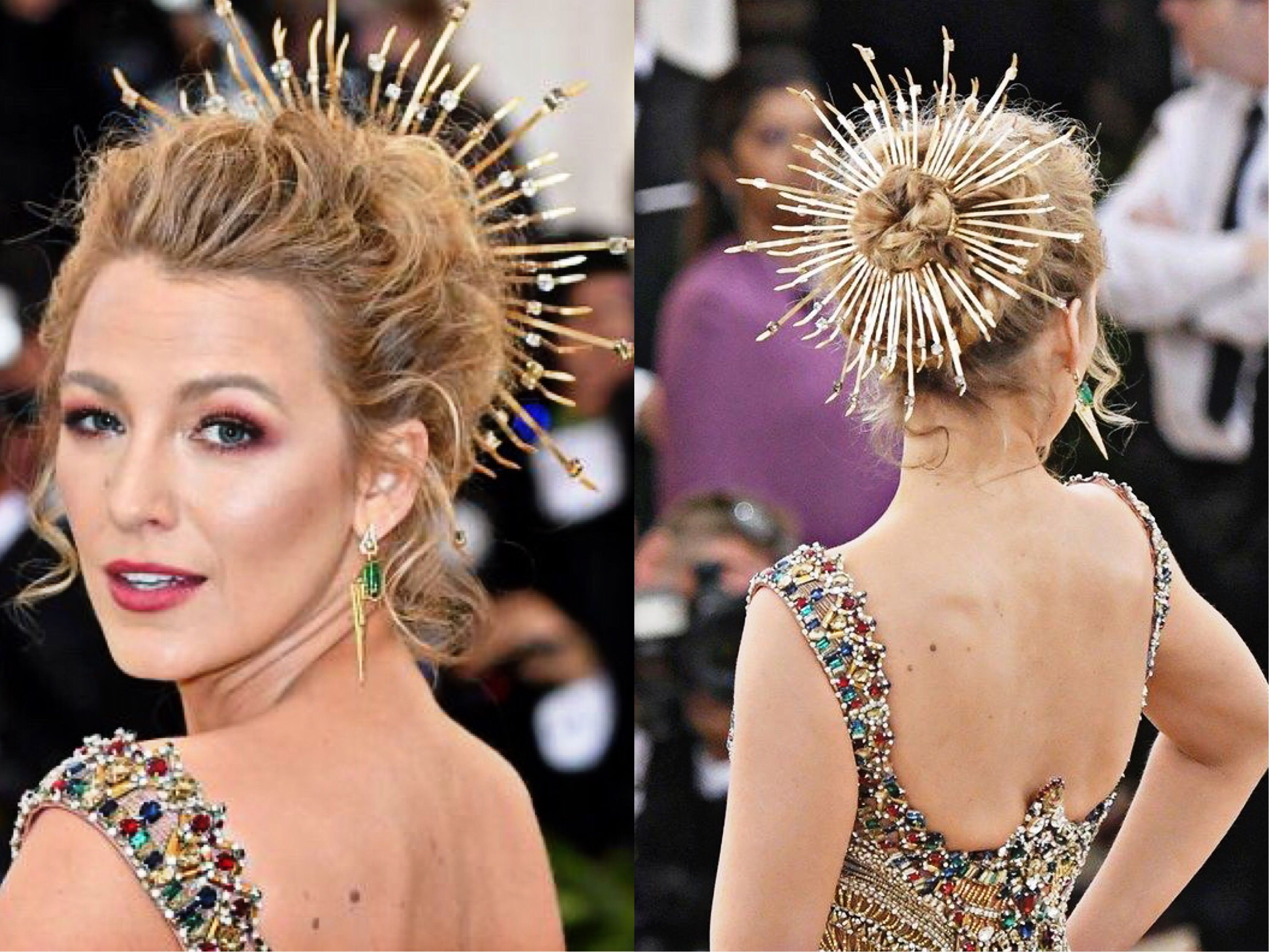 Crown inspired hairstyle worn by Blake Lively at 2018s Met Gala