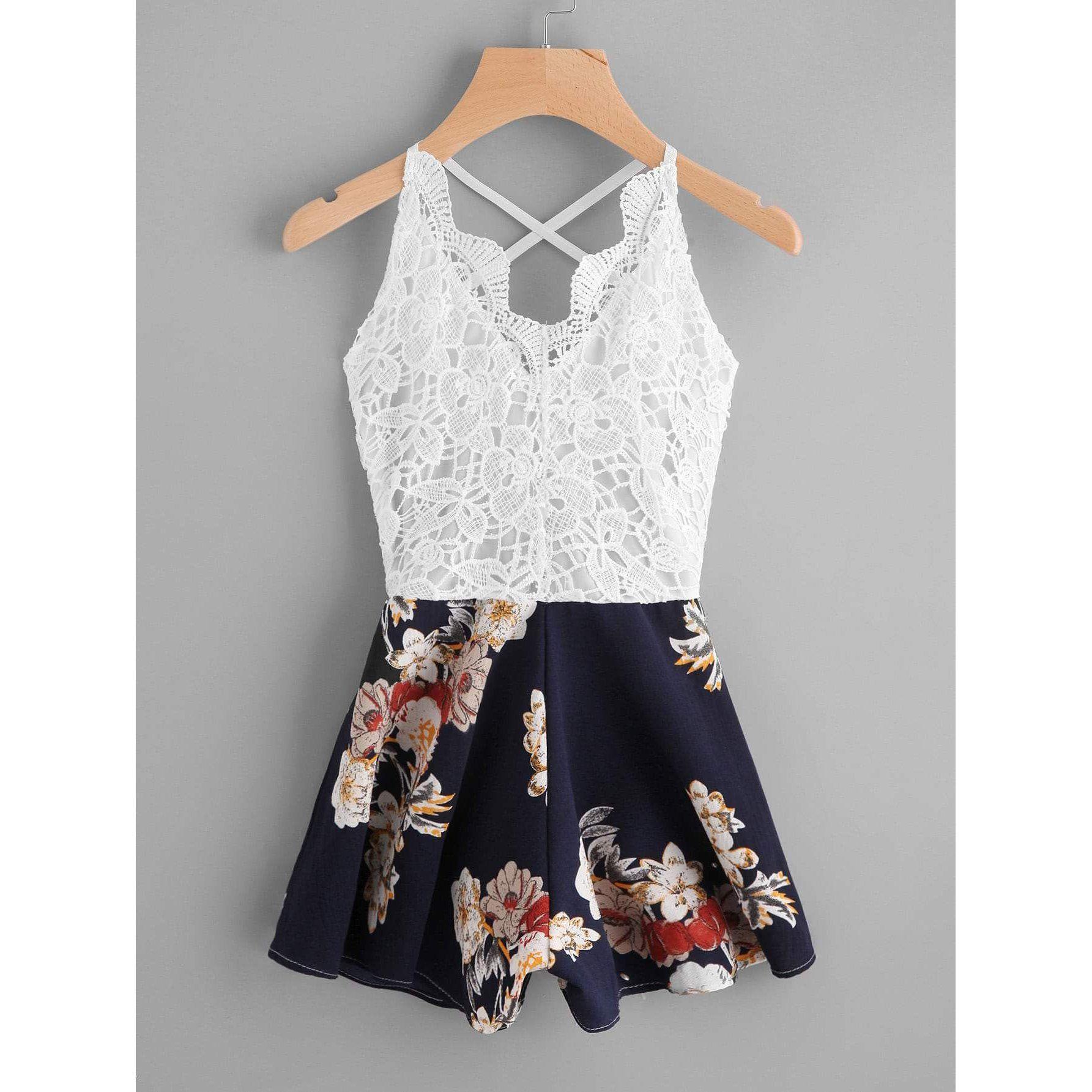 d6130f13319a Crochet Lace Panel Bow Tie Back Florals Romper