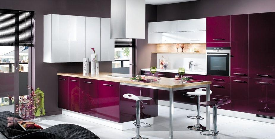 D co int rieur pourpre cuisine violet et blanc photo 4 25 de jolies teintes bordeaux - Deco cuisine violet ...