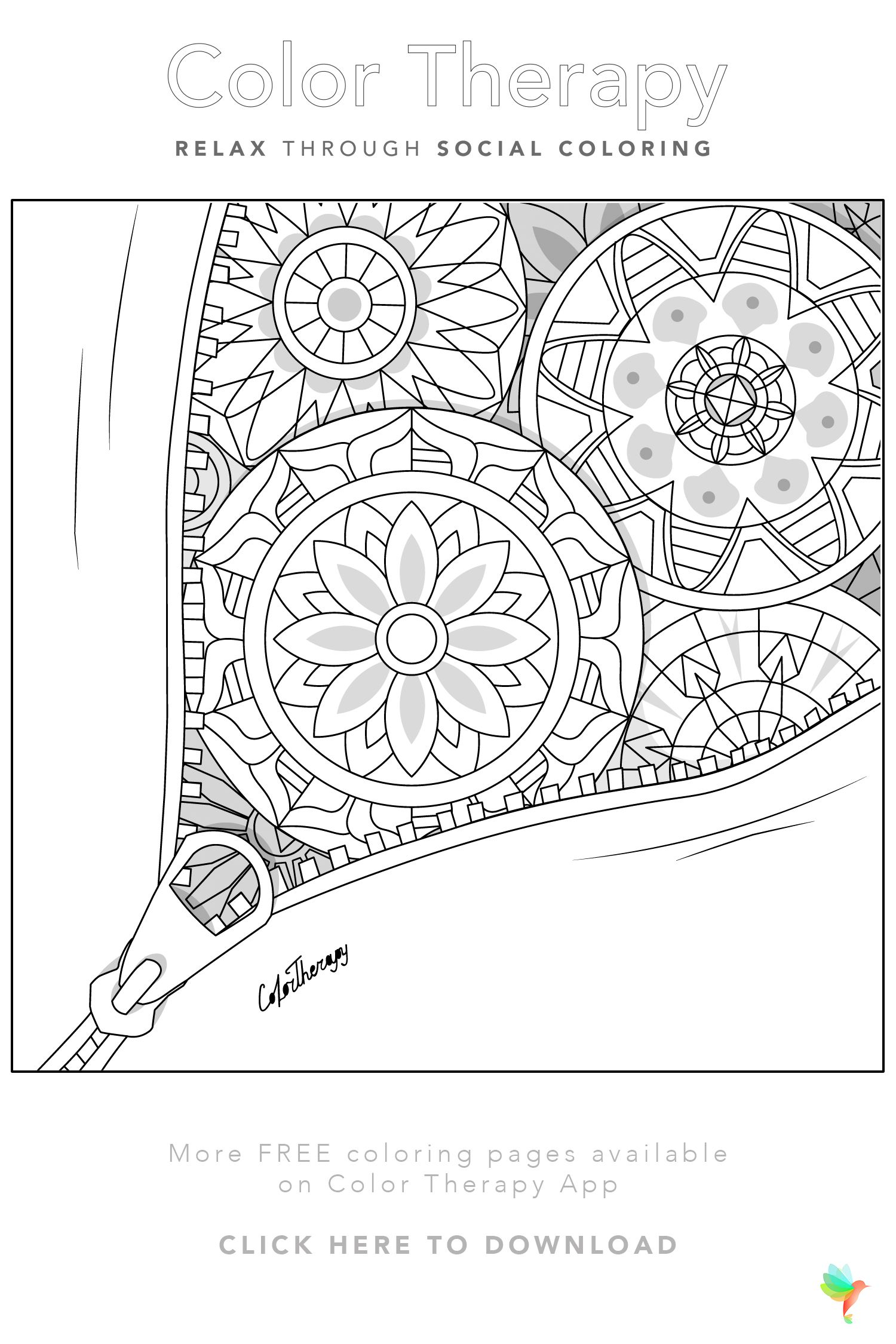 Color Therapy Gift Of The Day Free Coloring Template Color Therapy Pattern Coloring Pages Color Therapy App