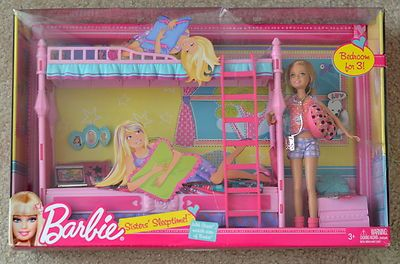 New Barbie Sisters Sleeptime Bunk Beds Bedroom Furniture Stacie Doll
