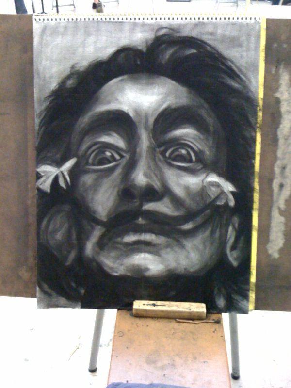 """Dali"" Charcoal illustration.   Created in 2010."