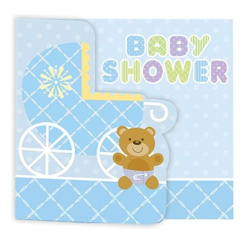 Teddy Baby Blue Invitations|Fast Shipping|8 per package