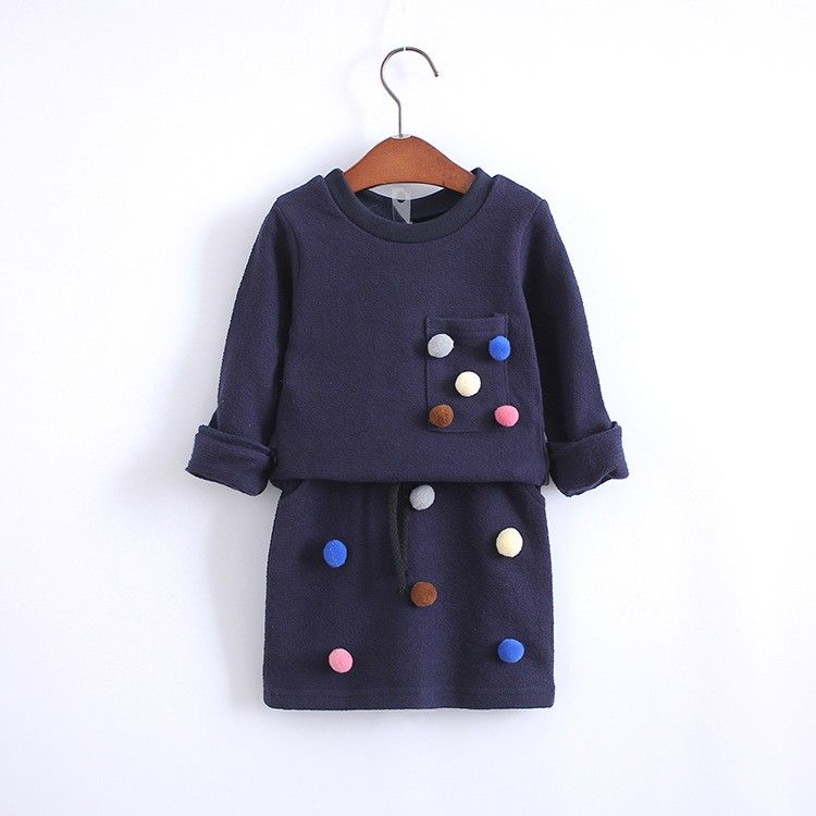 bb351a709871 Girls winter clothing set long sleeve shirt with ball with pencil ...