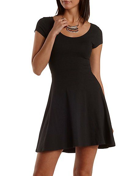 024394e11ae Cross-Back Cap Sleeve Skater Dress  Charlotte Russe  dress  black ...
