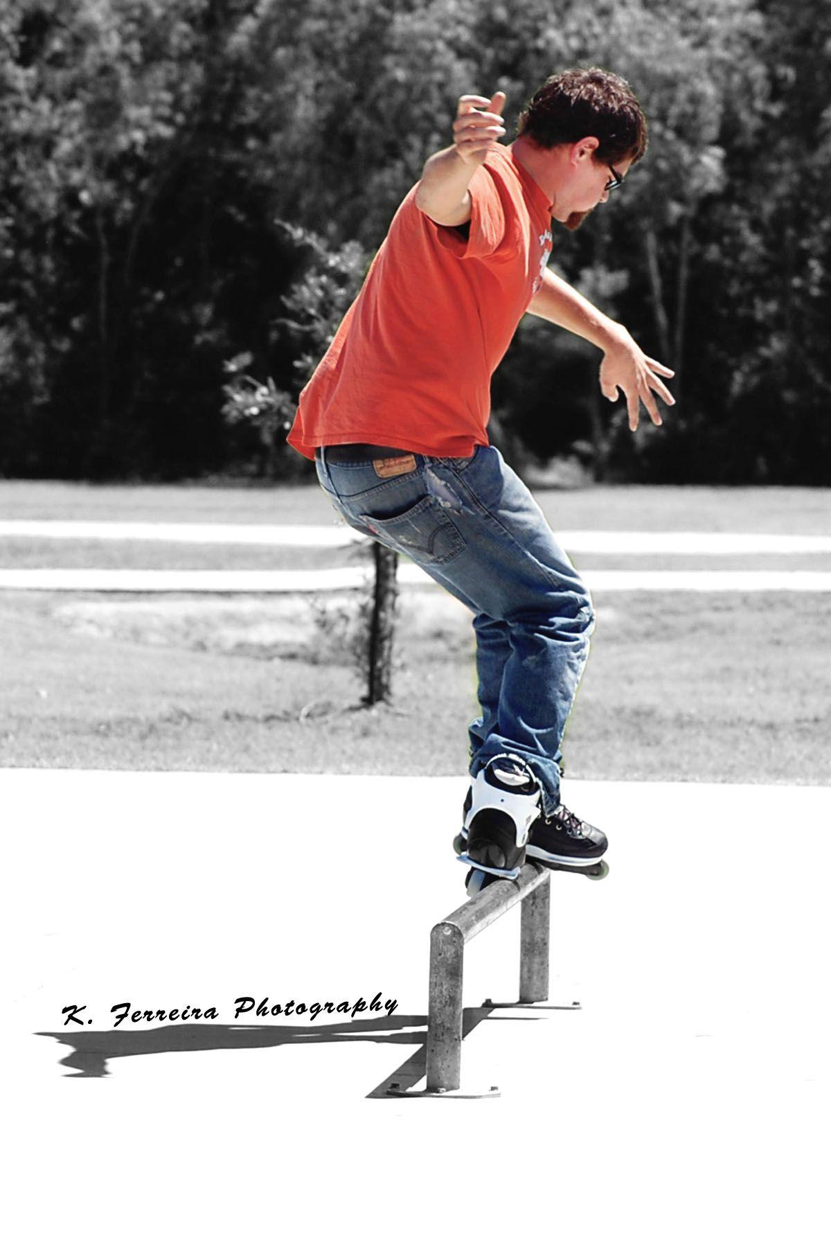K. Ferreira Photography. Buddy, Highway 6 Free Skate Park. #aggressive #inline #rollerblader #roller #blader #rollerblade #skate #skating #skater #skates #skatepark #orange #color