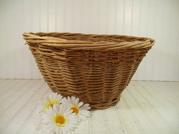 Vintage Very Large Round Natural Heavy Wicker Laundry