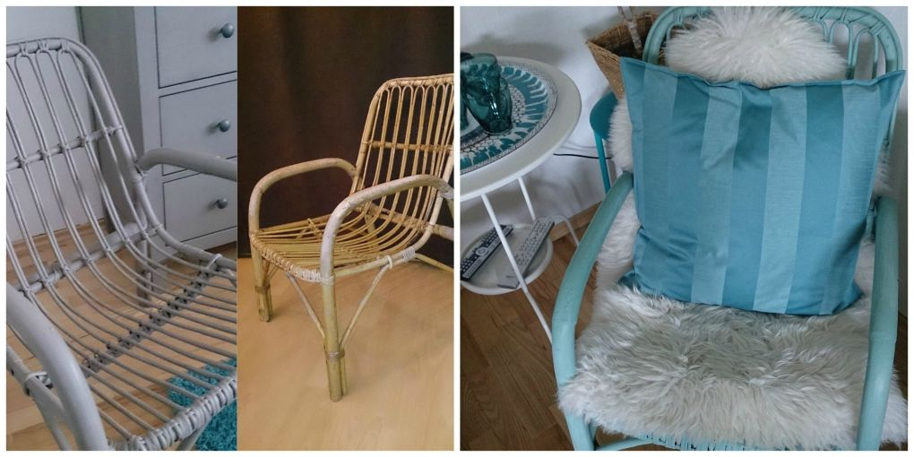 upcycling abgewitterte rattansessel streichen mit kreidefarbe diy rattansessel bemalen. Black Bedroom Furniture Sets. Home Design Ideas
