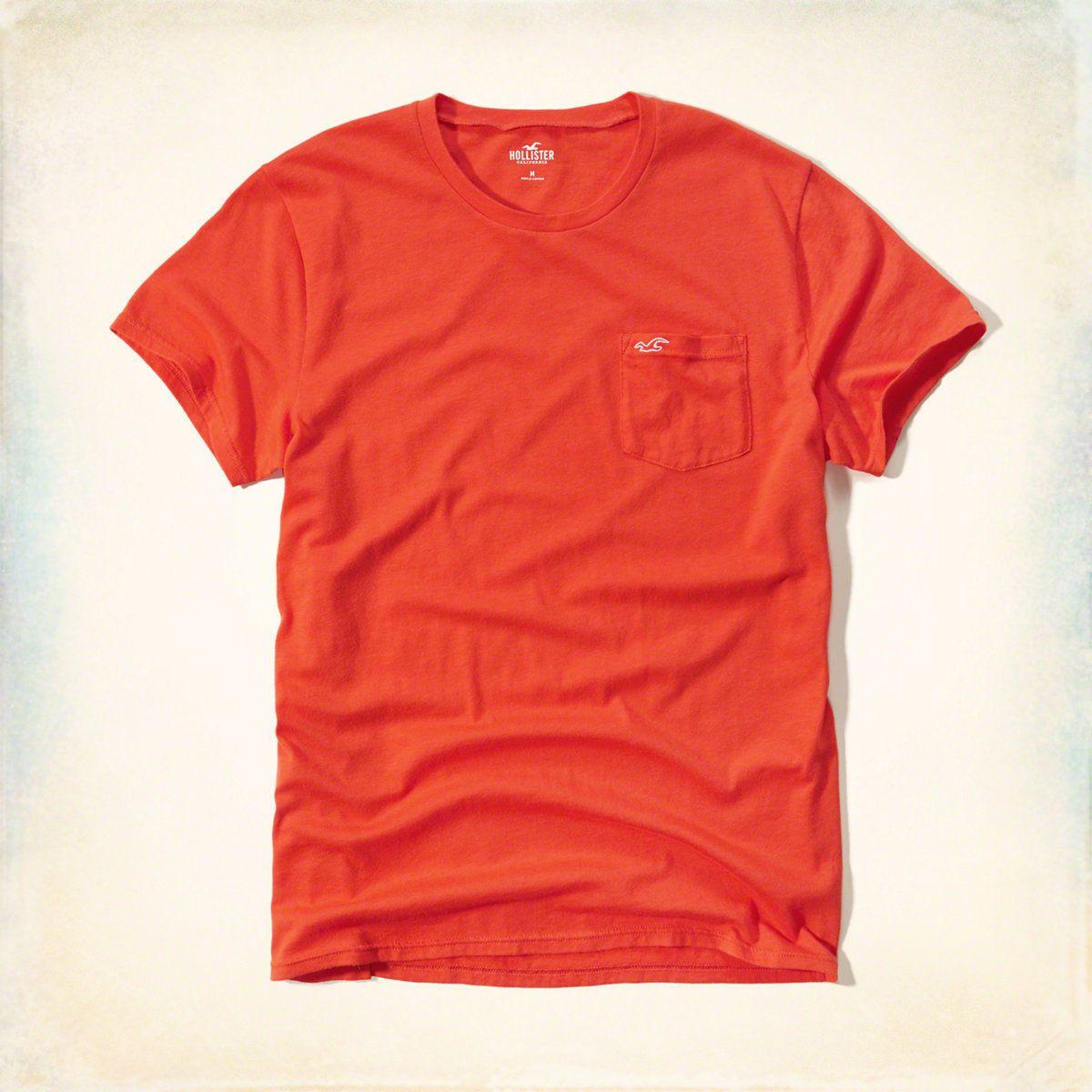 Hollister Mens La Jolla Pocket T-Shirt Orange
