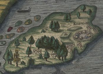 Section of a map from the 1590 edition of Thomas Hariot's Briefe ...
