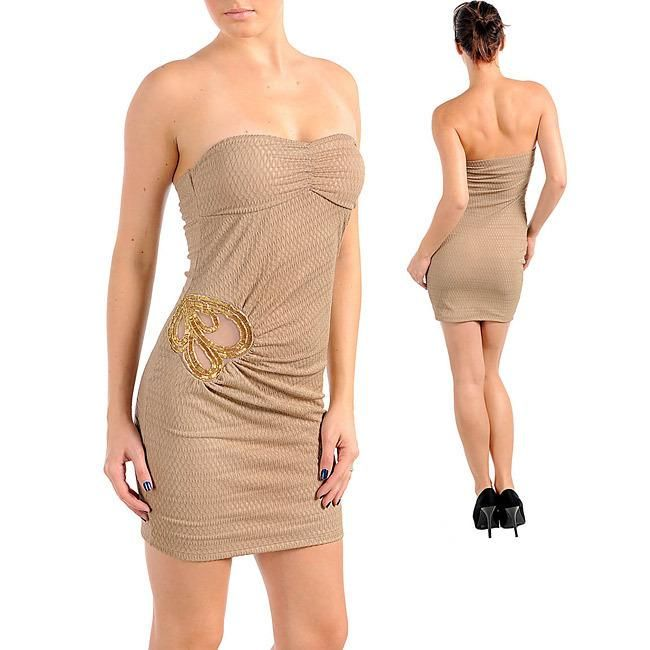 This strapless party dress from Stanzino spotlights a comfortable polyester construction. This dress also features sleeveless styling, a fully-lined design and a pullover entry, making it... More Details