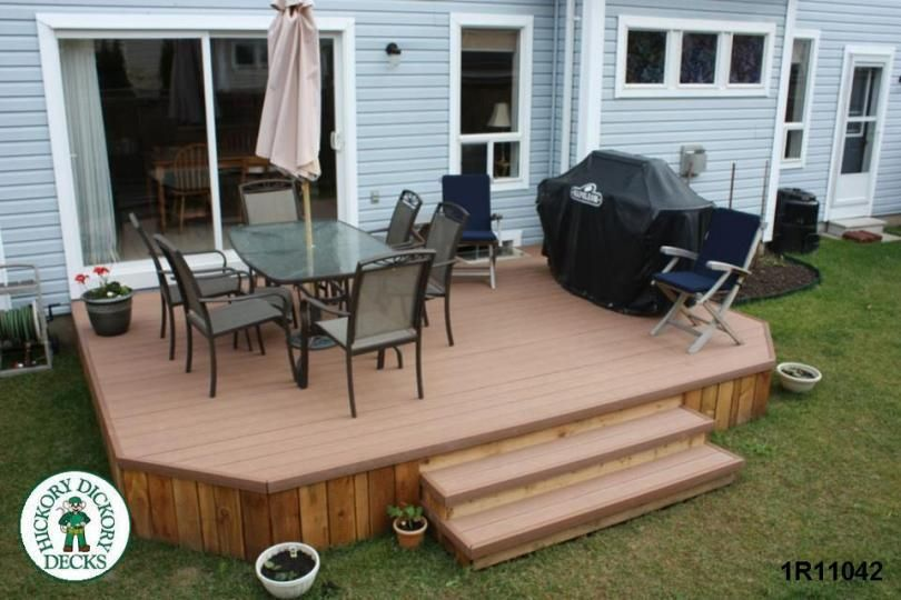 Deck without railing this simple deck plan is great for for Low elevation deck plans