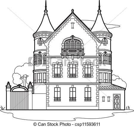 Drawing Mansion Csp11593611 Black And White Illustration Clip Art Stock Illustration