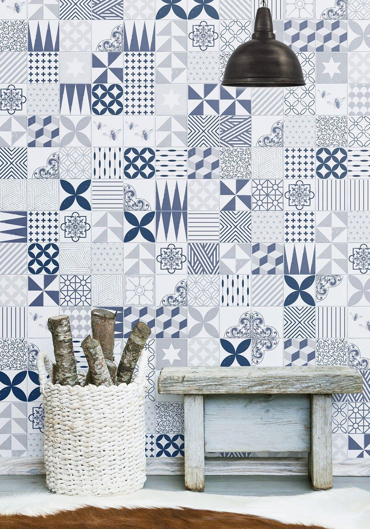 Cement Tiles Wallpaper Available In Multiple Colours Milton King Aus Cement Tile Tile Wallpaper Burke Decor