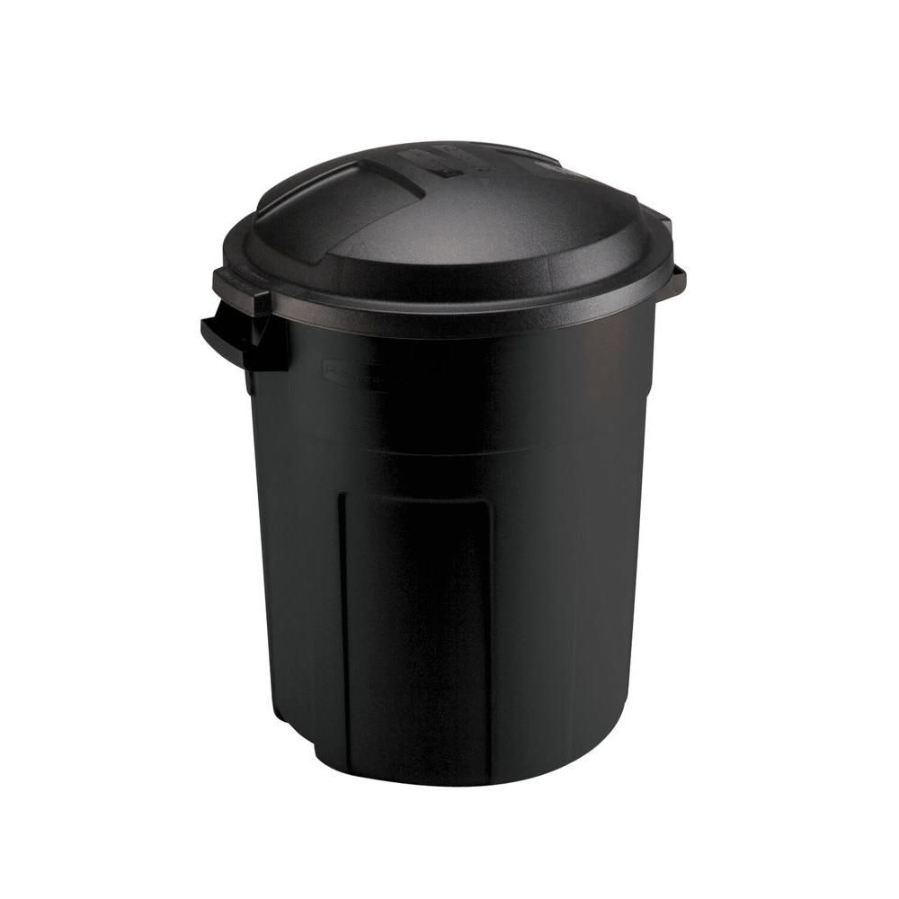 Rubbermaid Roughneck 20 Gal Black Round Trash Can With Lid Fg289200bla The Home Depot Trash Can Kitchen Trash Cans Containers For Sale