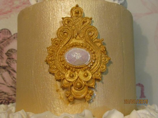 French themed gold ruffle