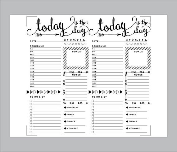 Printable Daily Bullet Journal Inserts, Midori Daily Spreadsheet