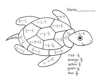Color by Number Snail: One-Step Equations with Fractions