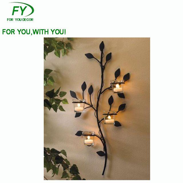 Ch 30837 Leaf Shape Wall Tea Light Candle Holder Home Wall
