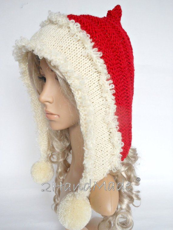 Santa Hat Adult Knit Oversized Christmas Elf Pixie Santa Hood Hat Chunky Pom  Poms Red White 4364a269b62a