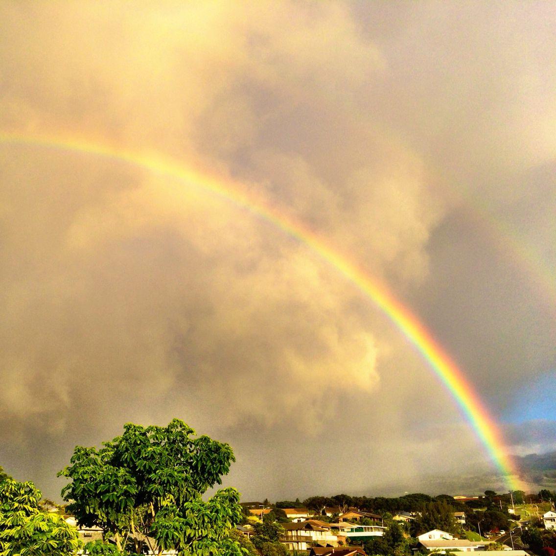 Rainbow at sunset over Pukalani, Hawaii. Hawaii, Natural