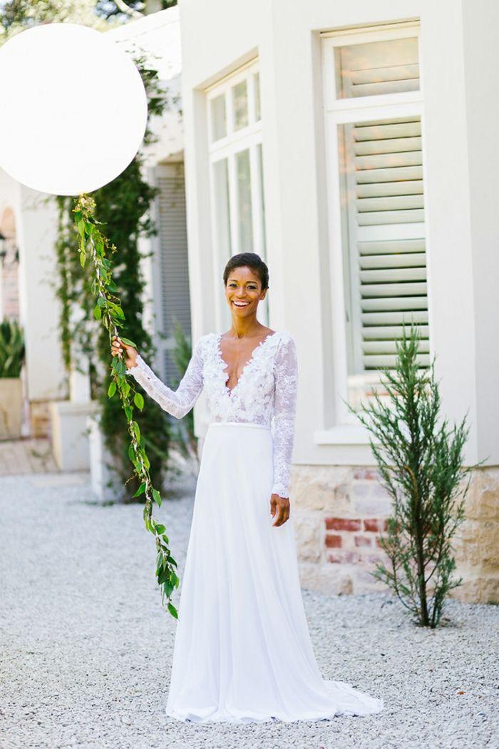 Robe moderne robe de mariée pas cher princesse la robe de mariée longue robe  top dentelle avec manches c1be3509f7e