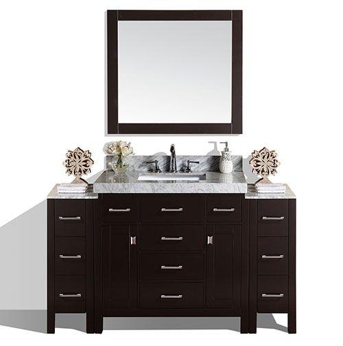 64 Malibu Espresso Single Modern Bathroom Vanity With 2 Side