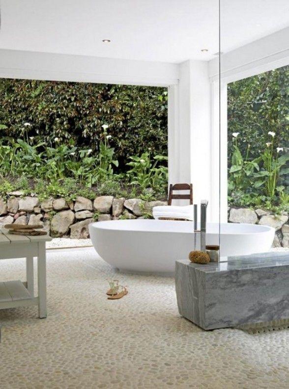 Bathroom With Huge Windows Surrounded By Plants Outdoor Bathroom Design Indoor Outdoor Bathroom Outdoor Bathrooms