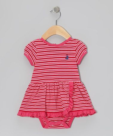 Another great find on #zulily! Red Stripe Skirted Bodysuit - Infant by Rugged Bear #zulilyfinds