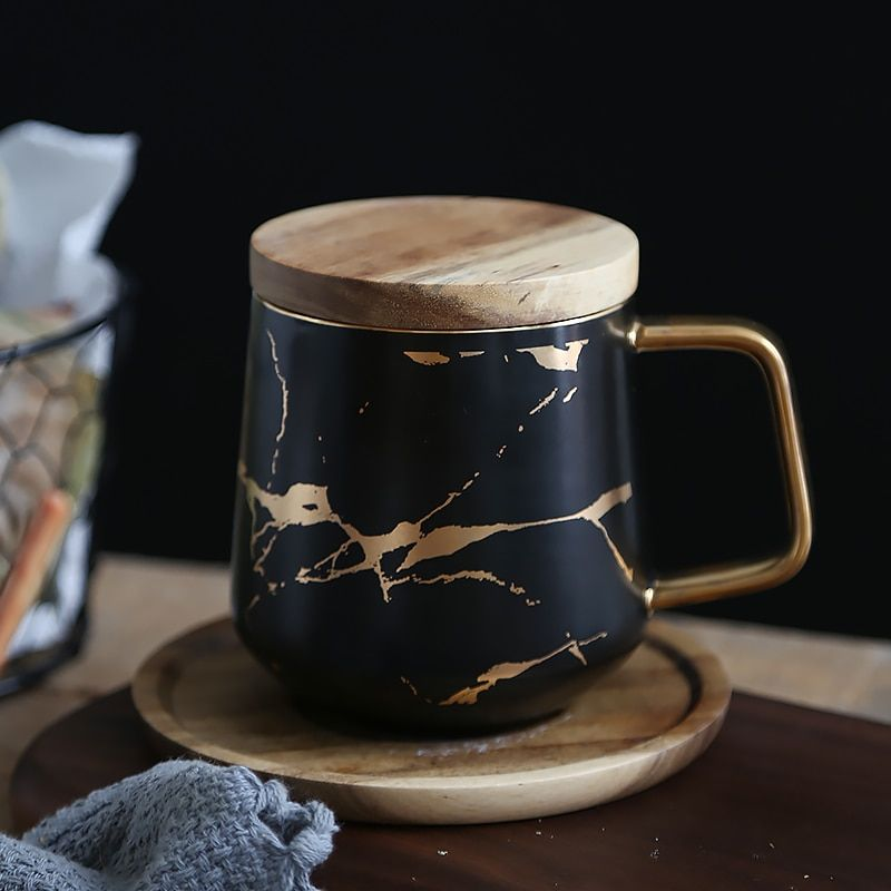 400ml Marble With Gold Inlay Ceramic Coffee Mugs With Wood Lid
