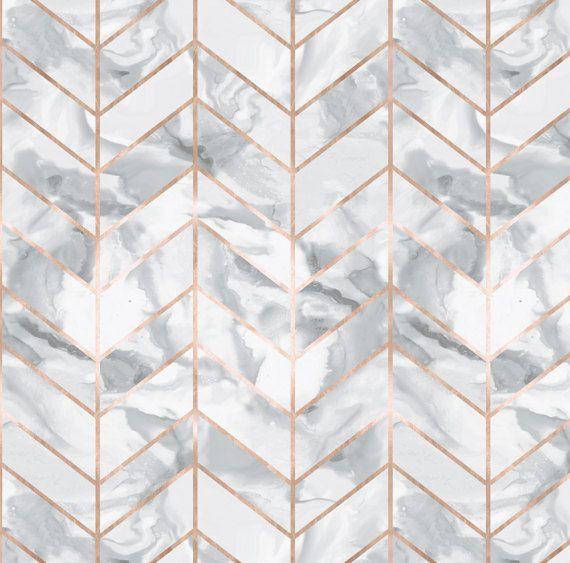 Rose Gold Marble Fabric Marble Herringbone Rose Gold Gilt