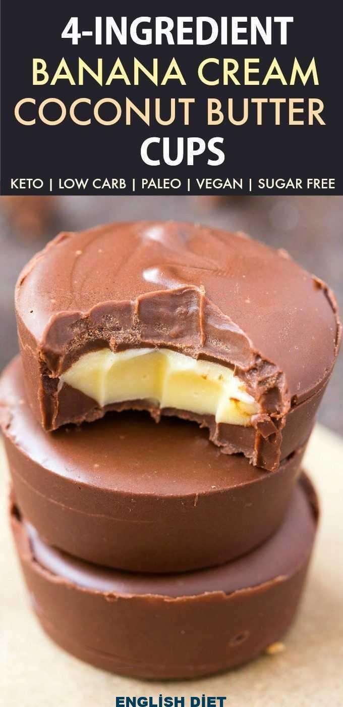 4 Ingredient Banana Cream Coconut Butter Cups (Keto, Paleo, Vegan, Sugar Free)- … 4 Ingredient Banana Cream Coconut Butter Cups (Keto, Paleo, Vegan, Sugar Free)- ... -