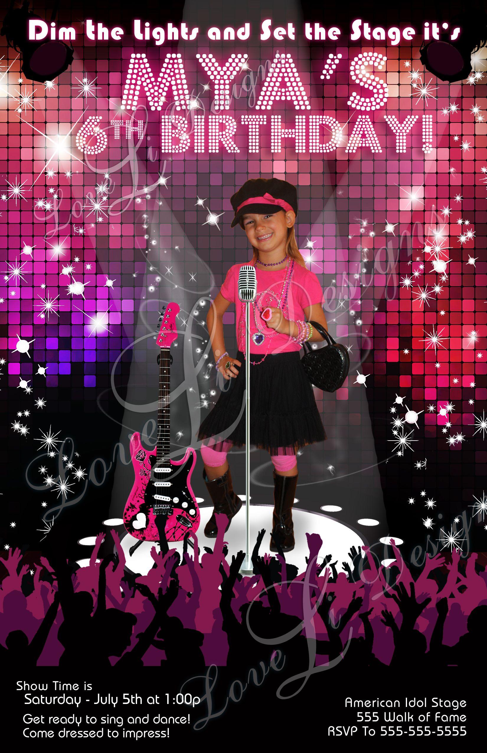 Pop Star Birthday Pop Star Diva Party Pop Star Invitation – Diva Party Invitations