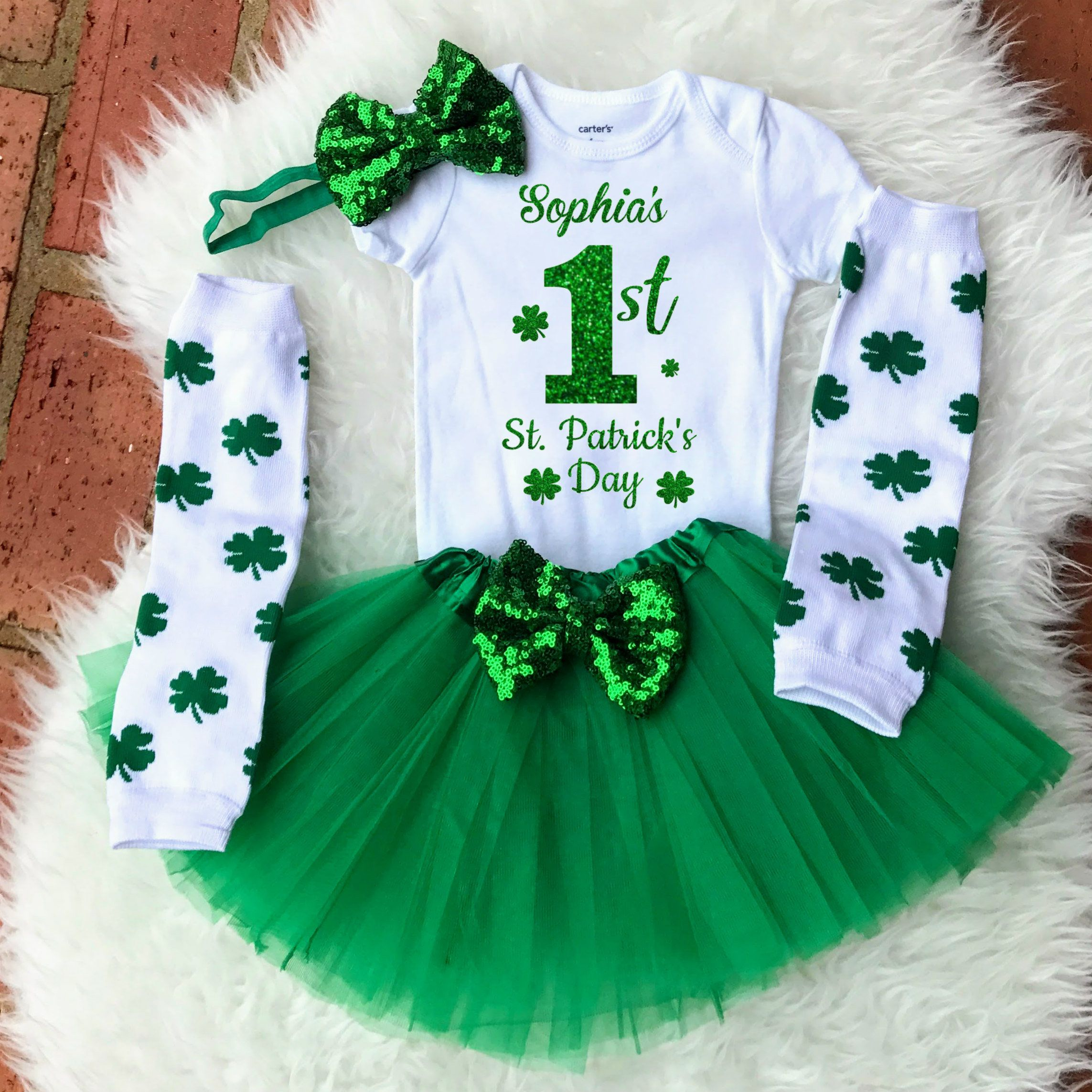 St Patrick/'s Day Baby Girl Outfit Photo Prop St Patrick/'s Day 1st Birthday St Patrick/'s Day Bodysuit St Patrick/'s Day Birthday Girl