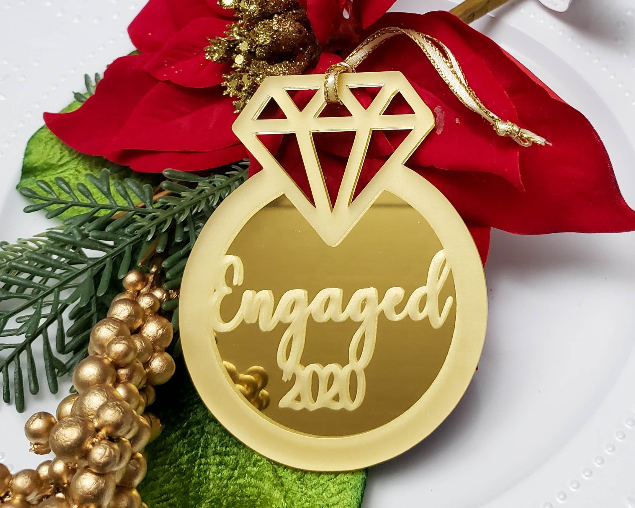 Engagement Ring Ornament Engaged Ornament Engagement Gift Etsy In 2020 Christmas Engagement Engagement Ornaments Engagement Gifts Newly Engaged