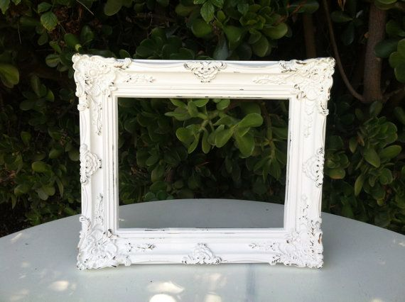 Shabby chic picture frame, 8 x 10, Baroque, Ornate,White, Wedding ...