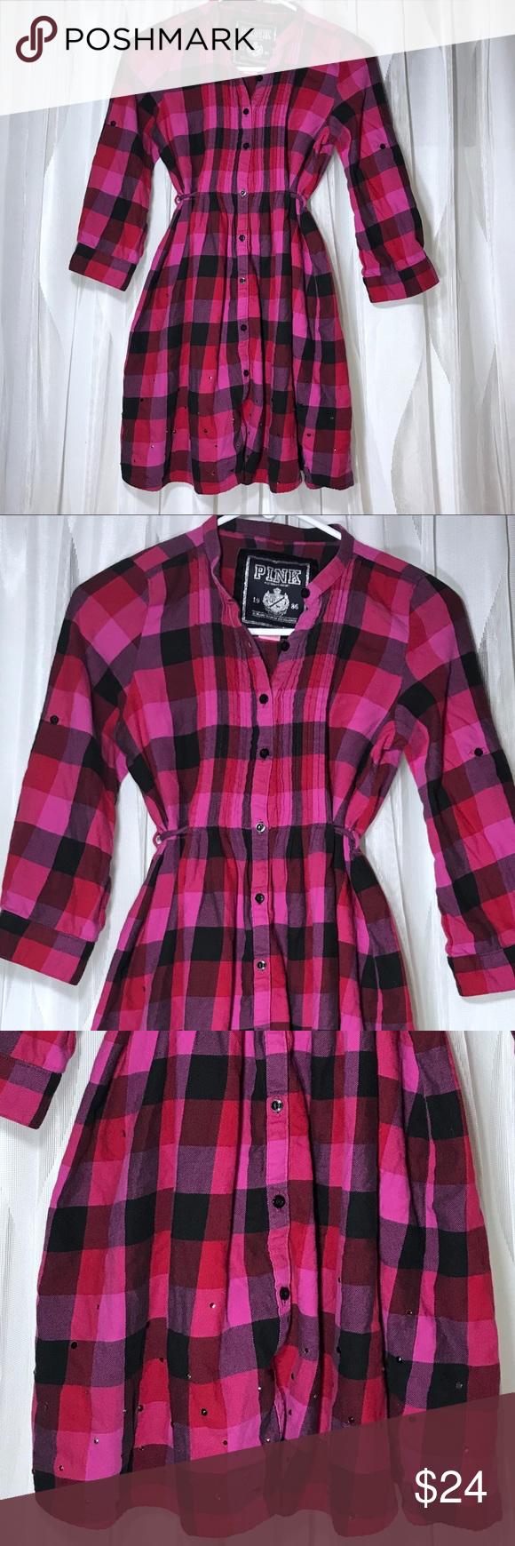 Flannel dress womens  Victoriaus Secret PINK Flannel Dress u Small  Flannels Red black