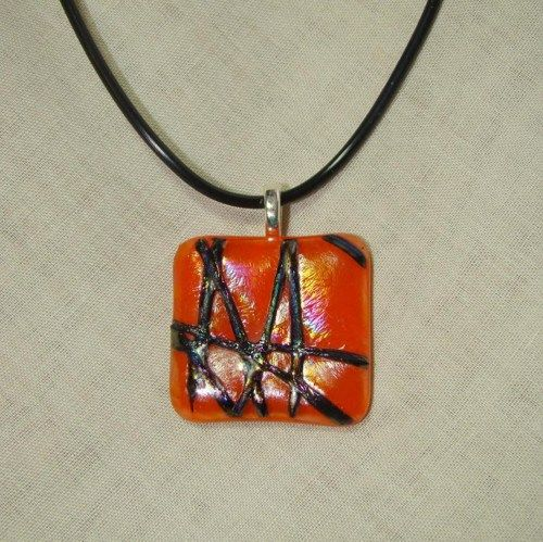 Orange and Clear Iridized Fused Glass Necklace | dancinghorsestudio - Jewelry on ArtFire  $16 plus shipping  15% off is you spend $20 or more in my Artfire shop - use code XMAS15.