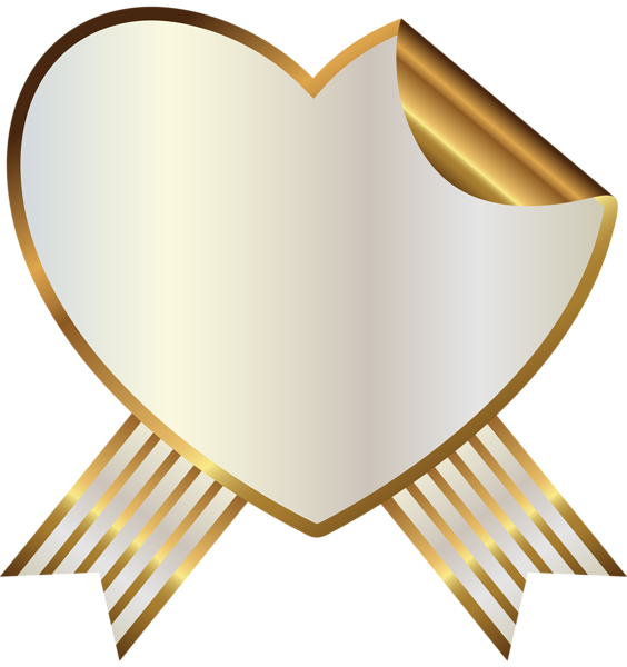 White and Gold Heart Seal with Ribbon PNG Clipart Image | Printables ...