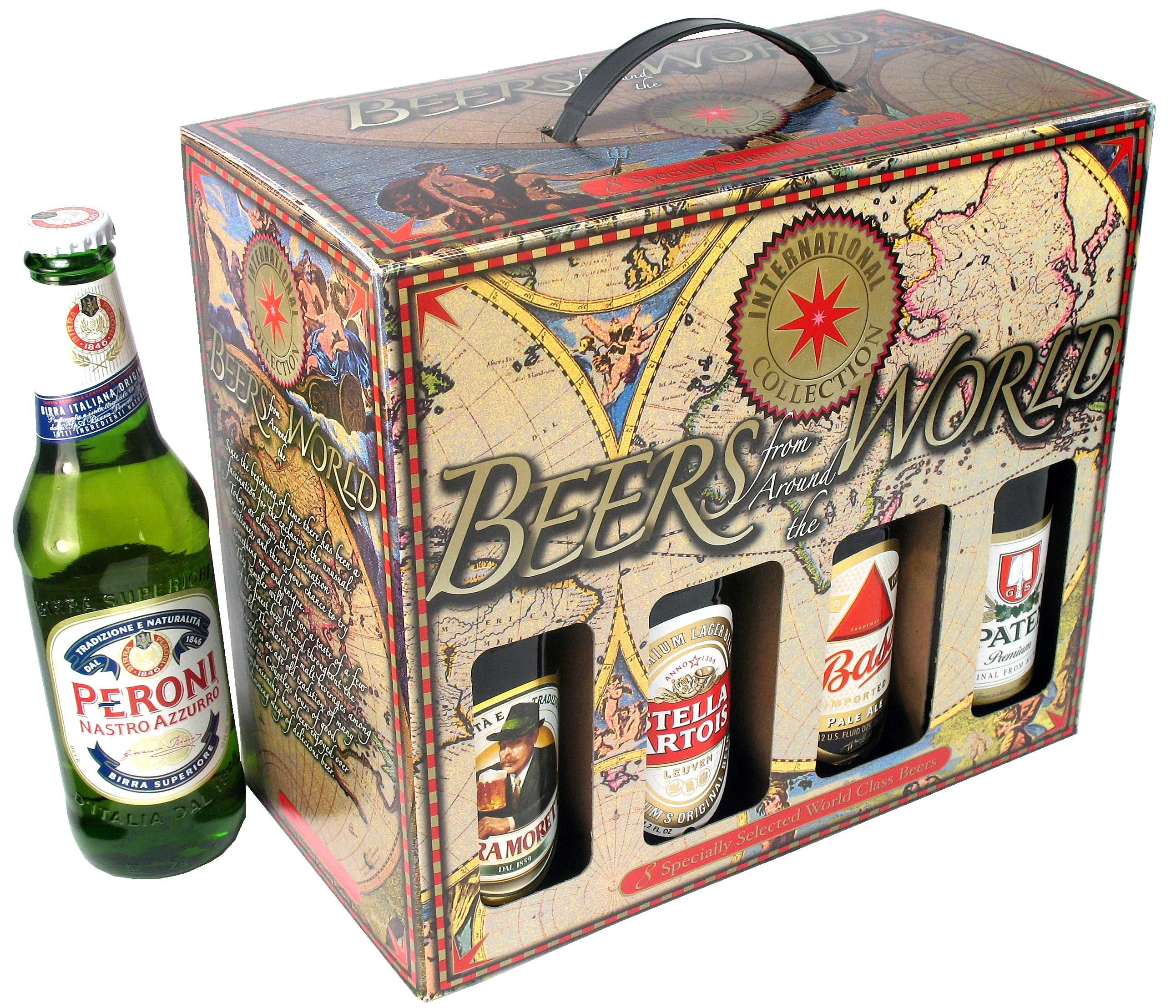 Beers Of The World 8 bottle box. Offer your customers a selection ...