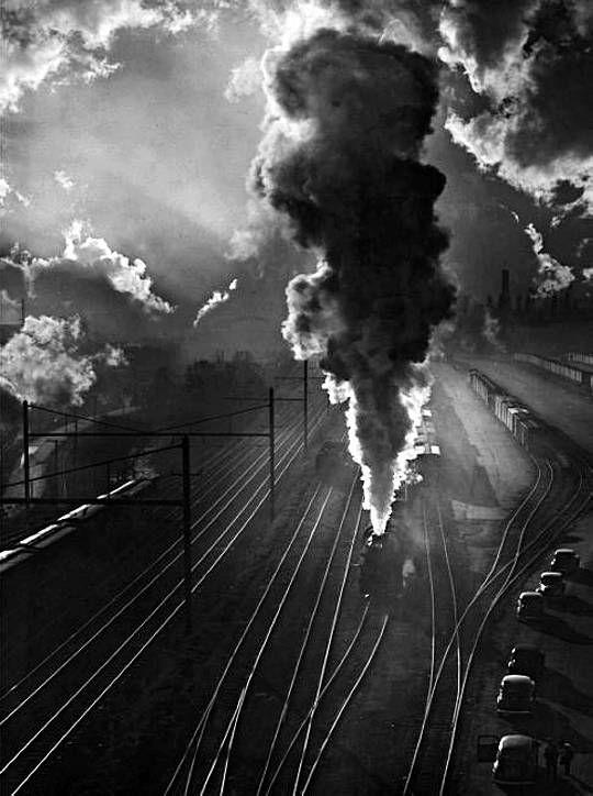 Train yard, Baltimore, a 1945 photo by A. Aubrey Bodine