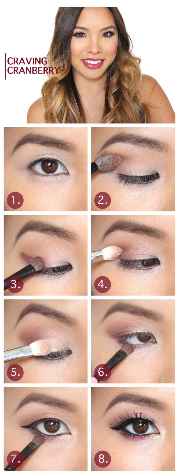 Craving Cranberry Asian eye makeup, Fall makeup tutorial